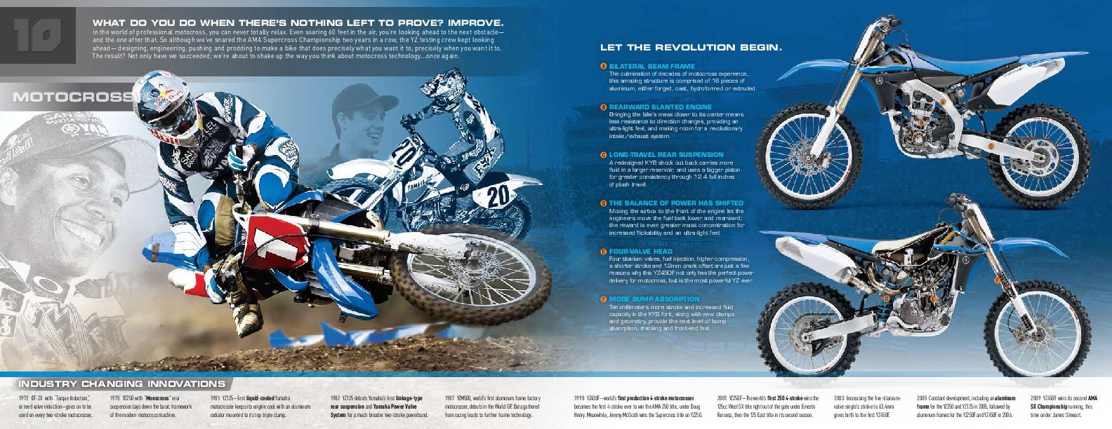 2010 yamaha motocross off road yz250 450 yx28 125 wr250