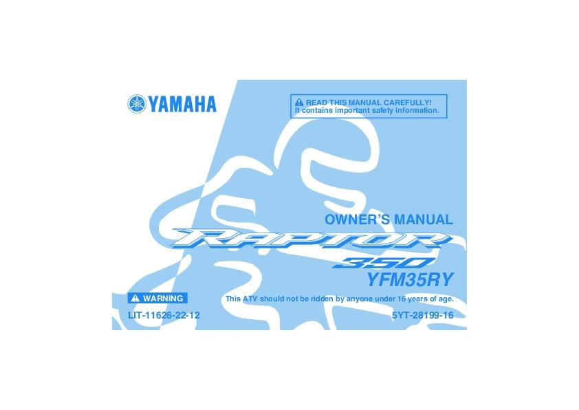 2009 yamaha raptor 350 yfm35ry atv owners manual rh motorcycle needmanual com raptor 350 repair manual pdf raptor 350 manual pdf