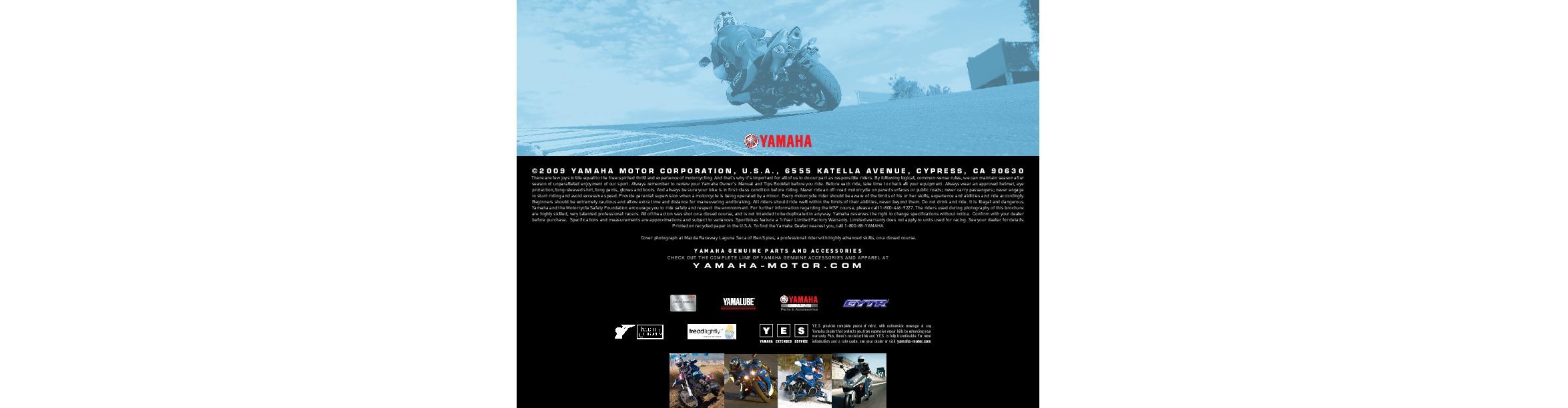 2010 Yamaha Sport Bike Yzf R1 R6 Fz1 6r Fjr1300a Catalog Yamalube Motor Oil Page 10